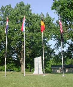 Daytime, View of Monument Back with Flags